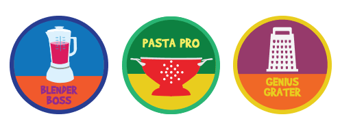 Badges Will Celebrate The Different Cooking Skills Learned In Each Recipe Such As Whisking Roasting